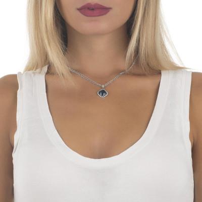 Collana doppio filo con cristallo blue montana e zirconi