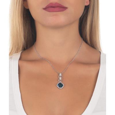 Collana con pendente di cristallo briolette blue montana e zirconi