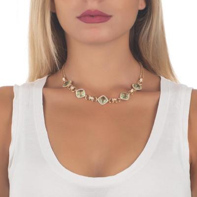 Collana doppio filo con decoro centrale di cristalli chrysolite e zirconi