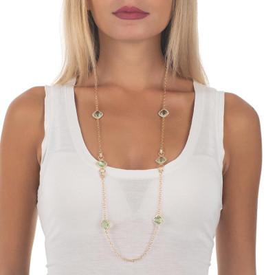 Collana lunga con cristalli briolette chrysolite e zirconi