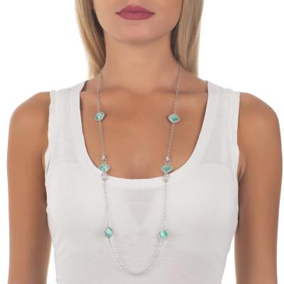 Collana lunga con cristalli briolette green mint e zirconi