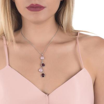 Collana con pendente a ciuffetto di cristalli ametista e quarzo rosa milk