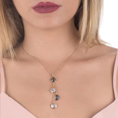 Collana con pendente a ciuffetto di cristalli fumè e crystal e zirconi