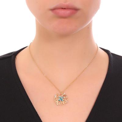 Collana con pendente corallo e Swarovski verde