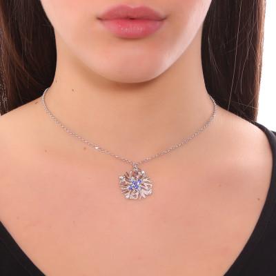Collana con pendente corallo e Swarovski blu