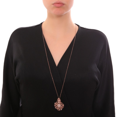 Collana lunga con pendente corallo e Swarovski crystal