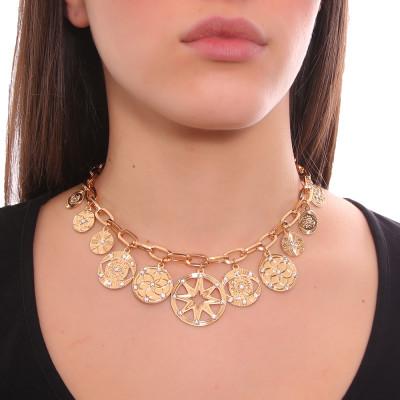 Collana placcata oro giallo maglie rettangolari con charms e Swarovski