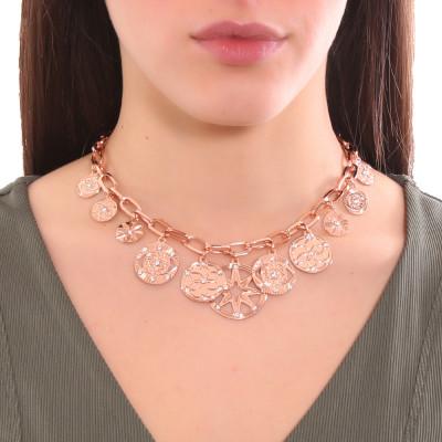 Collana placcata oro rosa maglie rettangolari con charms e Swarovski