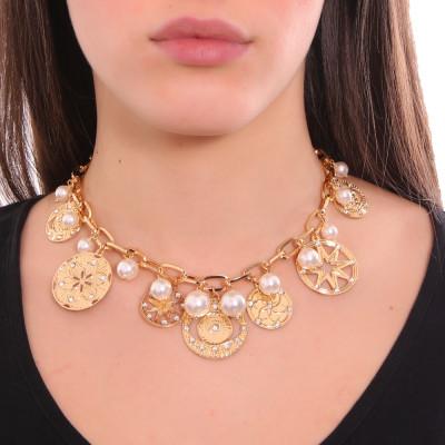 Collana placcata oro giallo con charms, cristalli e perle Swarovski