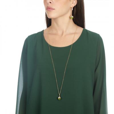 Collana lunga con pendente in cristallo color olivina