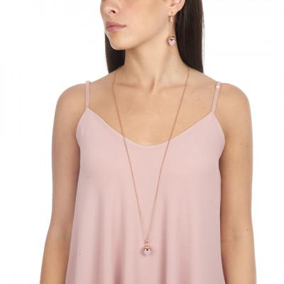 Collana lunga con pendente in cristallo color quarzo rosa