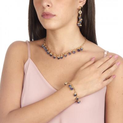 Collana con cristalli piramidali color tanzanite