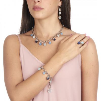 Collana con cristalli piramidali color tanzanite e acquamarina