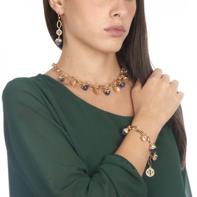 Collana con cristalli piramidali color tanzanite e corniola