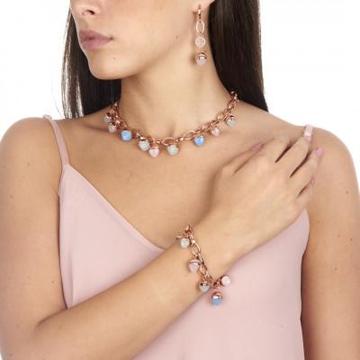 Collana con cristalli piramidali color calcedonio, quarzo rosa e acquamarina