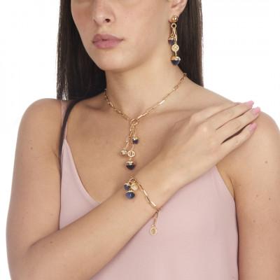 Collana a Y con cristalli piramidali color tanzanite e pietra di luna