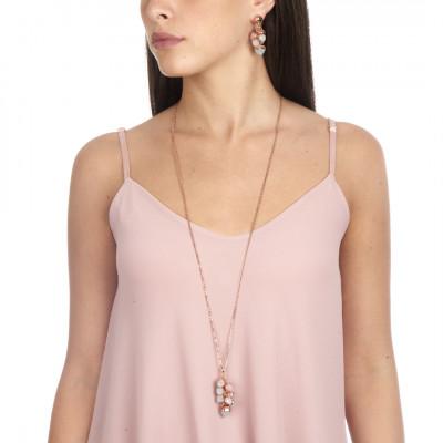 Collana lunga con ciuffo di cristalli color quarzo rosa e acquamarina