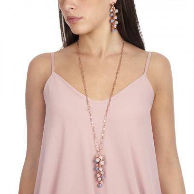 Collana con grappolo di cristalli color calcedonio, quarzo rosa e acquamarina