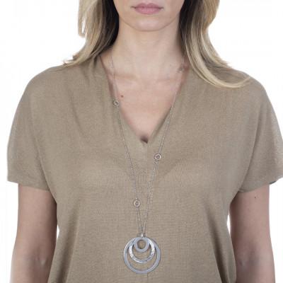 Collana lunga rodiata con pendente concentrico
