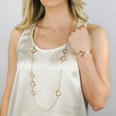 Collana lunga con Swarovski crystal, copper e golden shadow