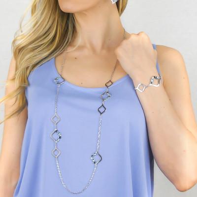 Collana lunga con Swarovski crystal, montana e light sapphire