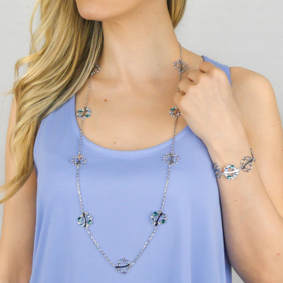 Collana lunga con Swarovski crystal, aquamarine e blue zircon