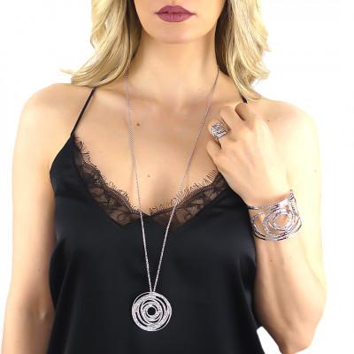 Collana con pendente concentrico e Swarovski