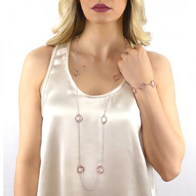 Collana Chanel bicolor con elementi circolari e Swarovski