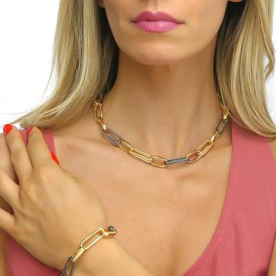 Collana catena bronzo giallo con rutenio effetto corda