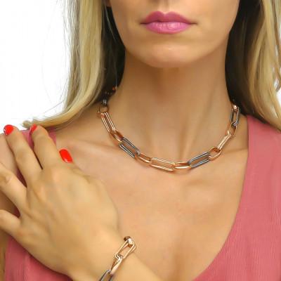 Collana catena rosa con rutenio effetto corda