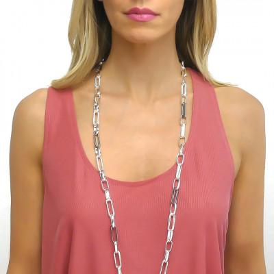 Collana catena lunga argentata con rutenio effetto corda