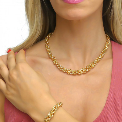 Collana bronzo giallo catena bizantina piccola