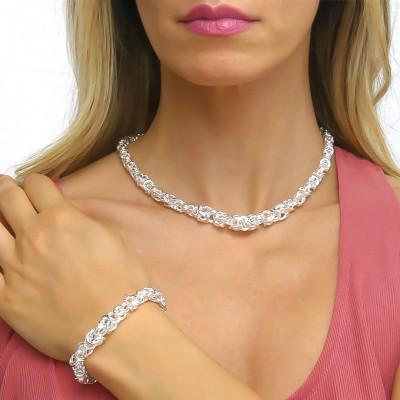 Collana catena bizantina piccola argentata