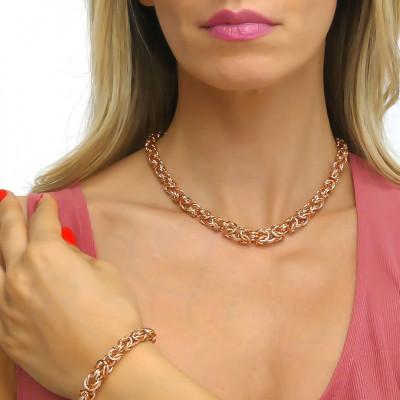 Collana in bronzo rosa catena bizantina grande argentata