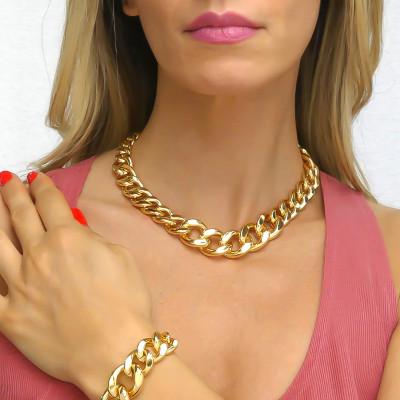 Collana bronzo giallo grumetta degradè