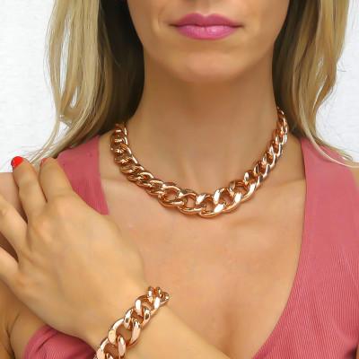 Collana in bronzo rosa grumetta degradè