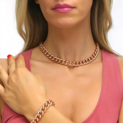 Collana grumetta piccola in bronzo rosa