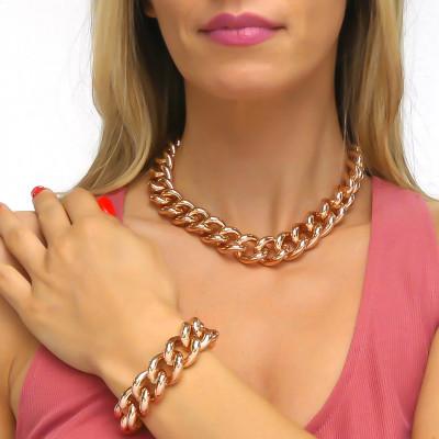 Collana grumetta grande in bronzo rosa