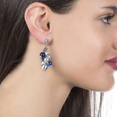 Orecchini con perle Swarovski light blue, agata mix blue e sfere graffiate