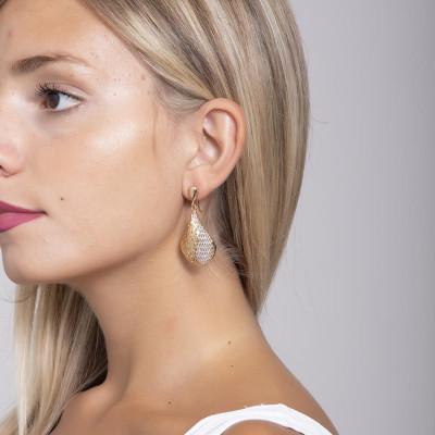 Orecchini con pendente romboidale e glitter silver