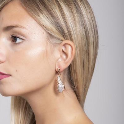 Orecchini placcati oro rosa con pendente romboidale e glitter silver