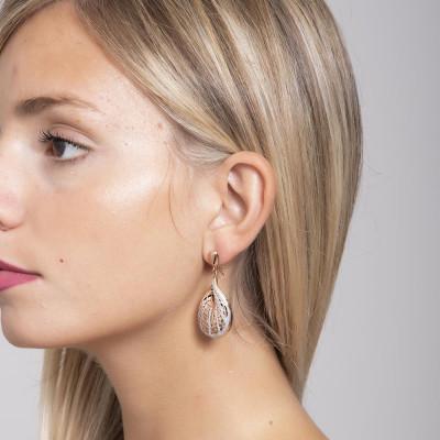 Orecchini placcati oro rosa con decoro a conchiglia e glitter silver