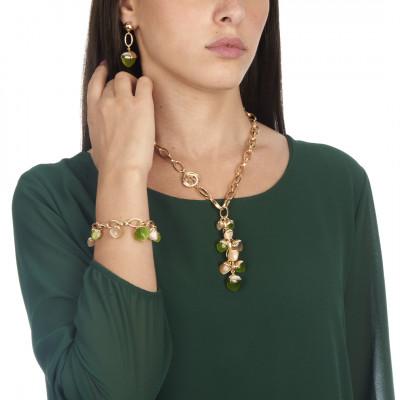 Orecchini con cristallo grande pendente color olivina