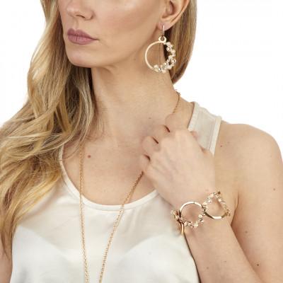 Orecchini circolari con Swarovski crystal, silk e white pearl