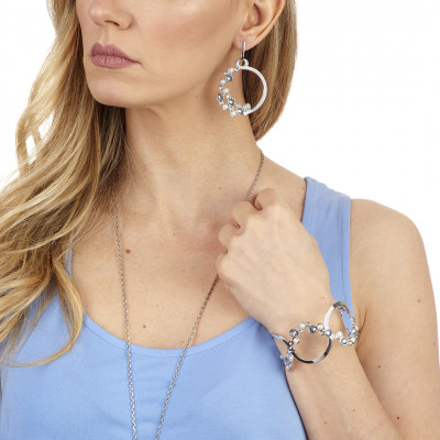 Orecchini circolari con Swarovski crystal, blue shade e white pearl
