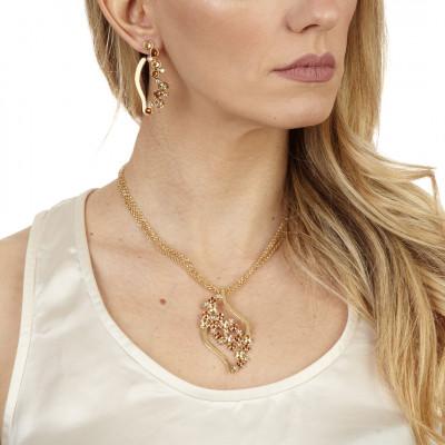 Orecchini a foglia con Swarovski crystal, copper e golden