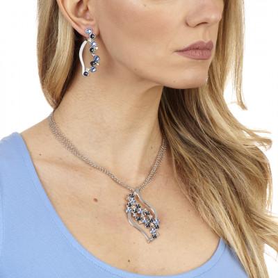 Orecchini a foglia con Swarovski crystal, light sapphire e montana