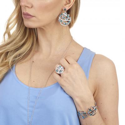 Orecchini pendenti con Swarovski crystal, aquamarine e blue zircon