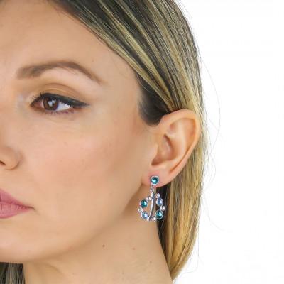 Orecchini con Swarovski crystal, aquamarine e blue zircon