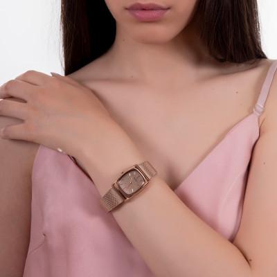 Orologio da polso donna con quadrante rettangolare e cinturino rosato